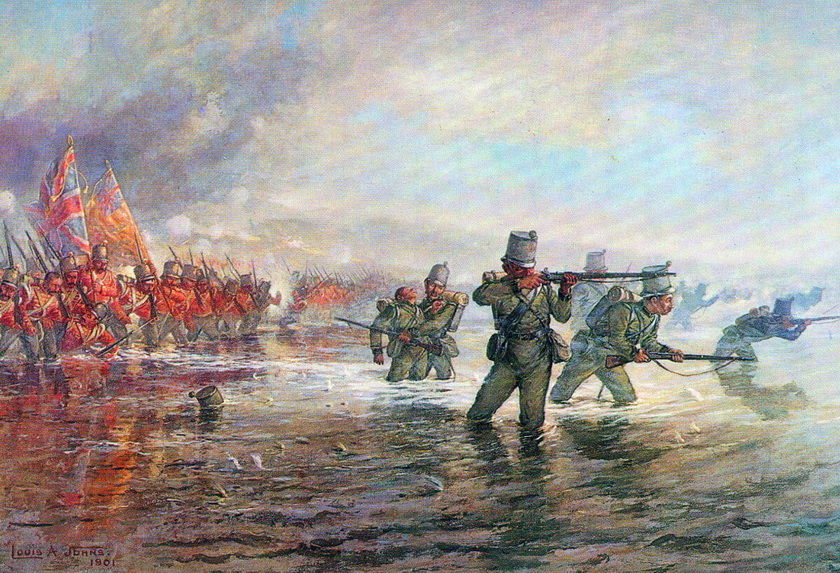 7-2nd-Rifle-Brigade-leading-the-Light-Division-at-the-Alma-by-Louis-Johns_调整大小