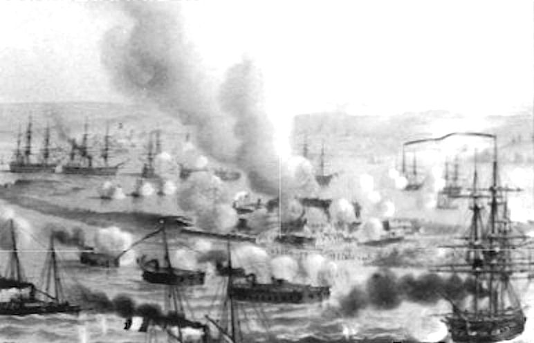 French_ironclad_floating_batteries_at_Kinburn_1855