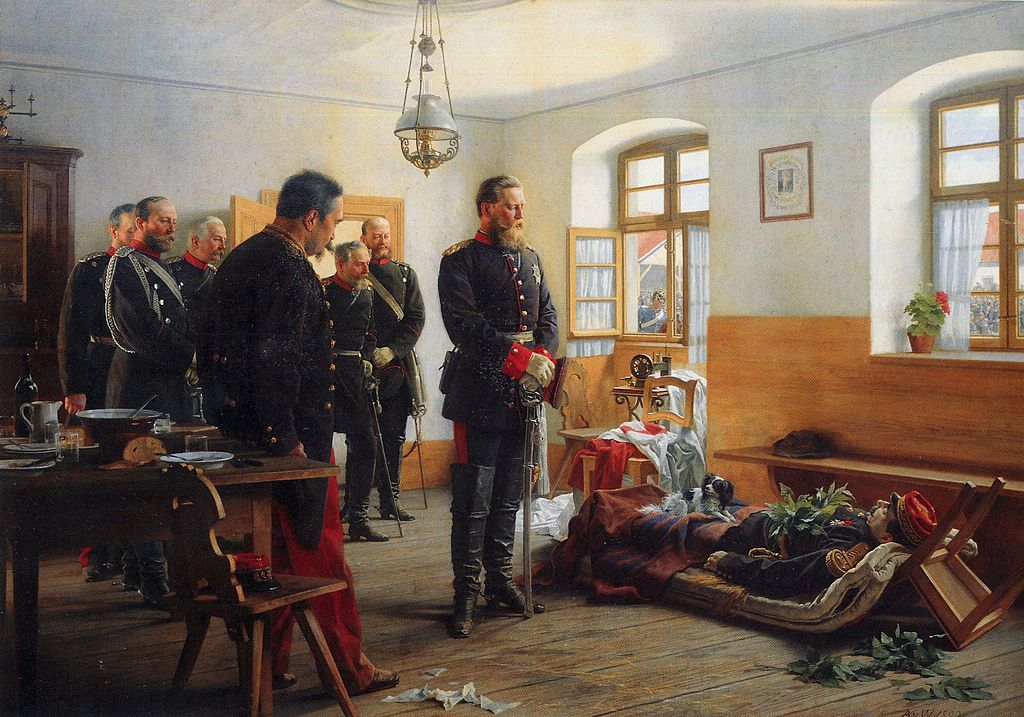 German_crown_Prince_Friedrich_Wilhelm_contemplating_the_corpse_of_French_general_Abel_Douay,_Franco-Prussian_War,_1870