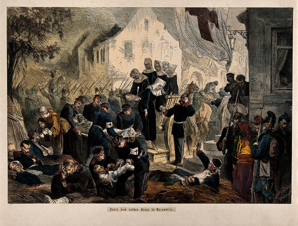 Franco-Prussian_War;_wounded_being_treated_at_Rezonville._Co_Wellcome_V0015458