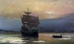 Mayflower_in_Plymouth_Harbor,_by_William_Halsall_调整大小