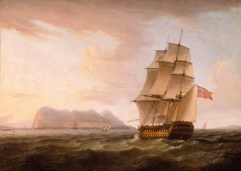 A_British_Man_of_War_before_the_Rock_of_Gibraltar_by_Thomas_Whitcombe_调整大小